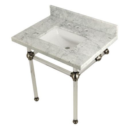 """Kingston Brass KVPB3030MASQ8 Templeton 30"""" x 22"""" Carrara Marble Vanity Top with Clear Acrylic Console Legs, Carrara Marble/Brushed Nickel"""
