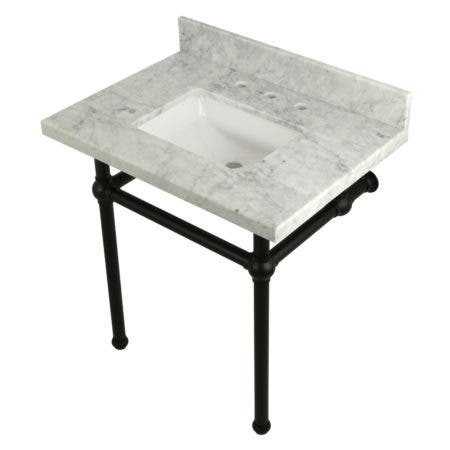 "Kingston Brass KVPB3030MBSQ0 Templeton 30"" x 22"" Carrara Marble Vanity Top with Brass Console Legs, Carrara Marble/Matte Black"