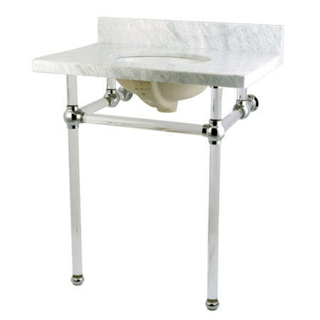Kingston Brass KVPB30MA1 Templeton 30X22 Carrara Marble Vanity Top with Clear Acrylic Feet Combo, Carrara Marble/Polished Chrome