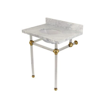 "Kingston Brass KVPB30MA7 Templeton 30"" x 22"" Carrara Marble Vanity Top with Clear Acrylic Console Legs, Carrara Marble/Brushed Brass"