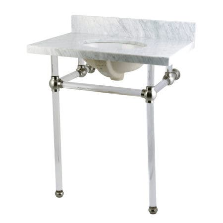 """Kingston Brass KVPB30MA8 Templeton 30"""" x 22"""" Carrara Marble Vanity Top with Clear Acrylic Console Legs, Carrara Marble/Brushed Nickel"""