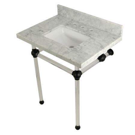 Kingston Brass KVPB30MASQ0 Templeton 30X22 Carrara Marble Vanity Top with Clear Acrylic Feet Combo, Carrara Marble/Matte Black