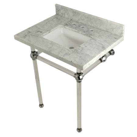 Kingston Brass KVPB30MASQ1 Templeton 30X22 Carrara Marble Vanity Top with Clear Acrylic Feet Combo, Carrara Marble/Polished Chrome