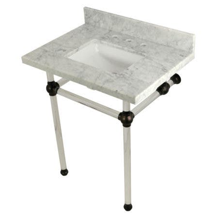 Kingston Brass KVPB30MASQ5 Templeton 30X22 Carrara Marble Vanity Top with Clear Acrylic Feet Combo, Carrara Marble/Oil Rubbed Bronze