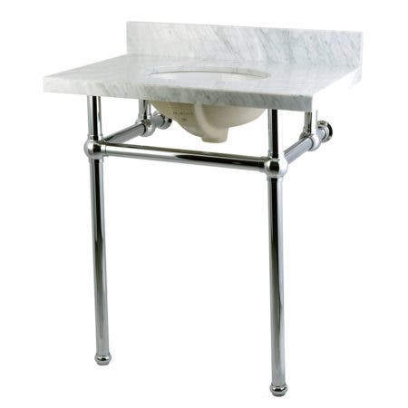 Kingston Brass KVPB30MB1 Templeton 30X22 Carrara Marble Vanity Top with Brass Feet Combo, Carrara Marble/Polished Chrome