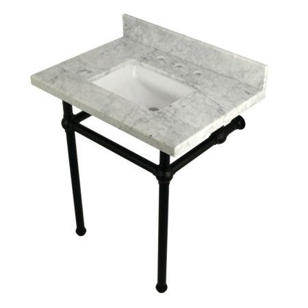 "Kingston Brass KVPB30MBSQ0 Templeton 30"" x 22"" Carrara Marble Vanity Top with Brass Console Legs, Carrara Marble/Matte Black"