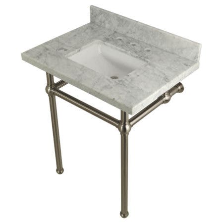 "Kingston Brass KVPB30MBSQ8 Templeton 30"" x 22"" Carrara Marble Vanity Top with Brass Console Legs, Carrara Marble/Brushed Nickel"