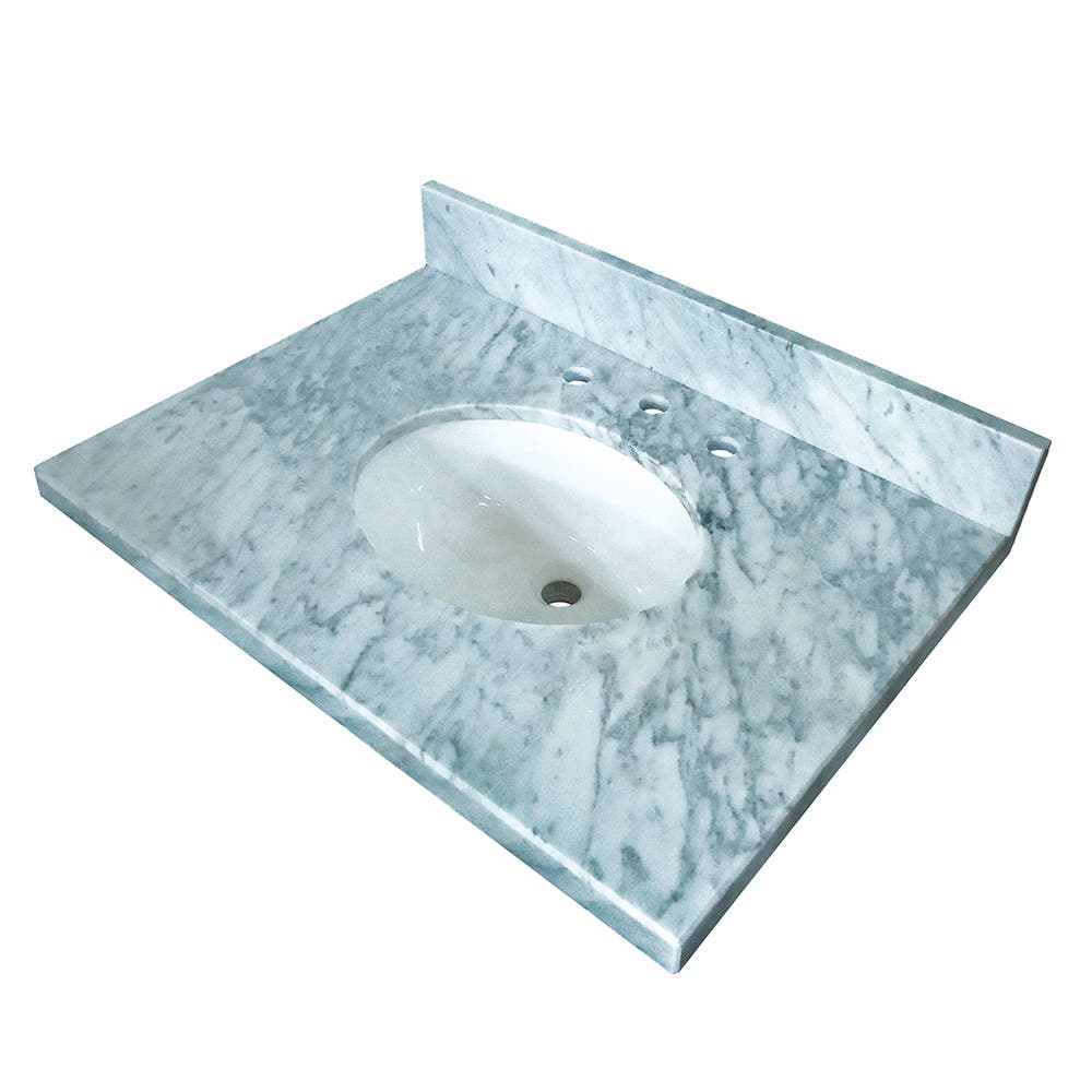 Fauceture KVPB3622M38 Templeton 36-Inch X 22-Inch Marble Vanity Top with Undermount Sink, Carrara Marble