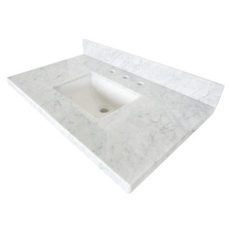 "Kingston Brass KVPB3622M38SQ Templeton 36"" X 22"" Carrara Marble Vanity Top with Square Undermount Sink, Carrara Marble"