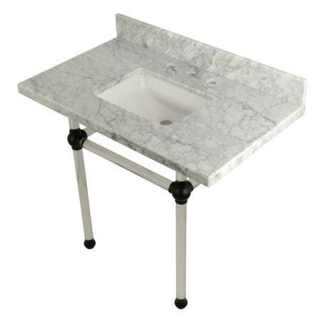 "Kingston Brass KVPB3630MASQ0 Templeton 36"" x 22"" Carrara Marble Vanity Top with Clear Acrylic Console Legs, Carrara Marble/Matte Black"