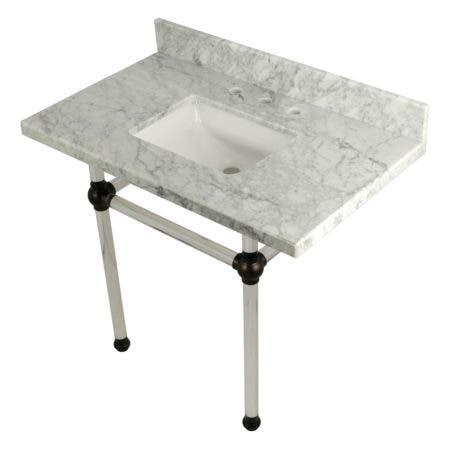 "Kingston Brass KVPB3630MASQ5 Templeton 36"" x 22"" Carrara Marble Vanity Top with Clear Acrylic Console Legs, Carrara Marble/Oil Rubbed Bronze"