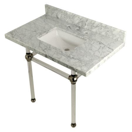 "Kingston Brass KVPB3630MASQ6 Templeton 36"" x 22"" Carrara Marble Vanity Top with Clear Acrylic Console Legs, Carrara Marble/Polished Nickel"