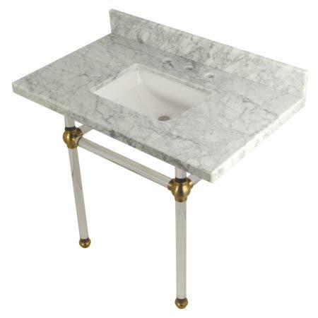 "Kingston Brass KVPB3630MASQ7 Templeton 36"" x 22"" Carrara Marble Vanity Top with Clear Acrylic Console Legs, Carrara Marble/Brushed Brass"