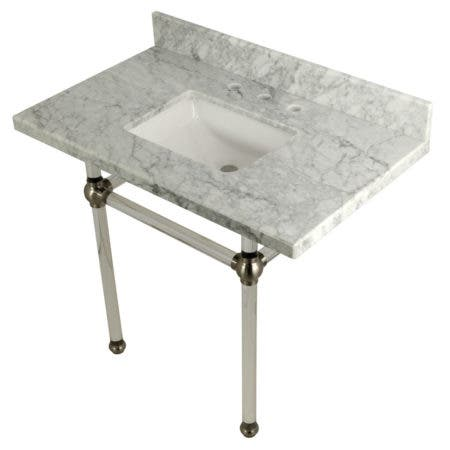 """Kingston Brass KVPB3630MASQ8 Templeton 36"""" x 22"""" Carrara Marble Vanity Top with Clear Acrylic Console Legs, Carrara Marble/Brushed Nickel"""