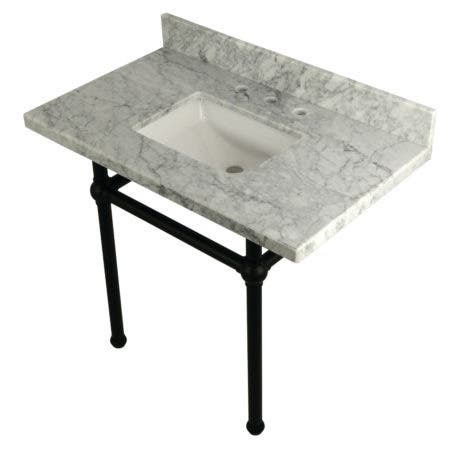 "Kingston Brass KVPB3630MBSQ0 Templeton 36"" x 22"" Carrara Marble Vanity Top with Brass Console Legs, Carrara Marble/Matte Black"