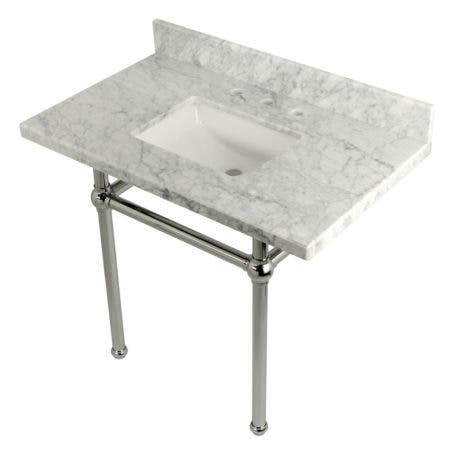 Kingston Brass KVPB3630MBSQ1 36X22 Carrara Marble Vanity with Sink and Brass Feet Combo, Carrara Marble/Polished Chrome