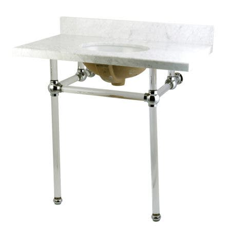 "Kingston Brass KVPB36MA1 Templeton 36"" x 22"" Carrara Marble Vanity Top with Clear Acrylic Console Legs, Carrara Marble/Polished Chrome"