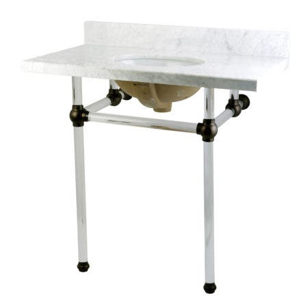 "Kingston Brass KVPB36MA5 Templeton 36"" x 22"" Carrara Marble Vanity Top with Clear Acrylic Console Legs, Carrara Marble/Oil Rubbed Bronze"