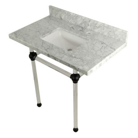 "Kingston Brass KVPB36MASQ0 Templeton 36"" x 22"" Carrara Marble Vanity Top with Clear Acrylic Console Legs, Carrara Marble/Matte Black"