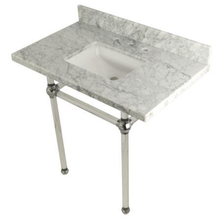 Kingston Brass KVPB36MASQ1 36X22 Carrara Marble Vanity with Sink and Acrylic Feet Combo, Carrara Marble/Polished Chrome