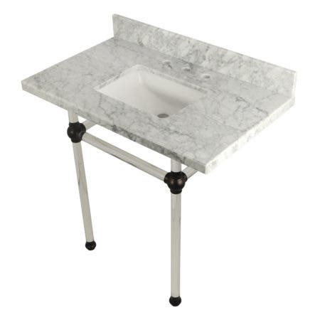 "Kingston Brass KVPB36MASQ5 Templeton 36"" x 22"" Carrara Marble Vanity Top with Clear Acrylic Console Legs, Carrara Marble/Oil Rubbed Bronze"