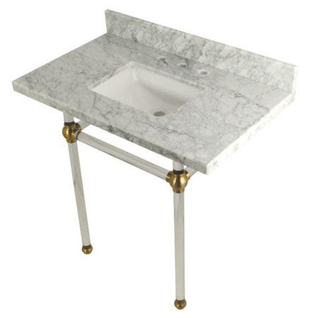 "Kingston Brass KVPB36MASQ7 Templeton 36"" x 22"" Carrara Marble Vanity Top with Clear Acrylic Console Legs, Carrara Marble/Brushed Brass"