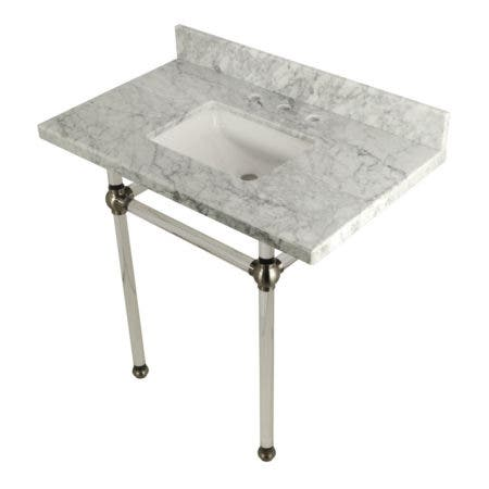 """Kingston Brass KVPB36MASQ8 Templeton 36"""" x 22"""" Carrara Marble Vanity Top with Clear Acrylic Console Legs, Carrara Marble/Brushed Nickel"""