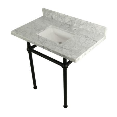 Kingston Brass KVPB36MBSQ0 36X22 Carrara Marble Vanity with Sink and Brass Feet Combo, Carrara Marble/Matte Black