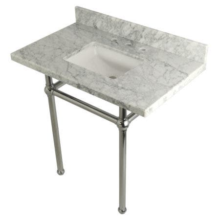 Kingston Brass KVPB36MBSQ1 36X22 Carrara Marble Vanity with Sink and Brass Feet Combo, Carrara Marble/Polished Chrome