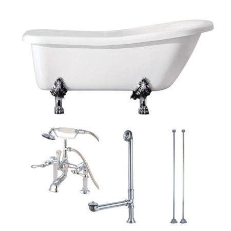 Aqua Eden KVTDE692823C1 67-Inch Acrylic Single Slipper Clawfoot Tub Combo with Faucet and Supply Lines, White/Polished Chrome