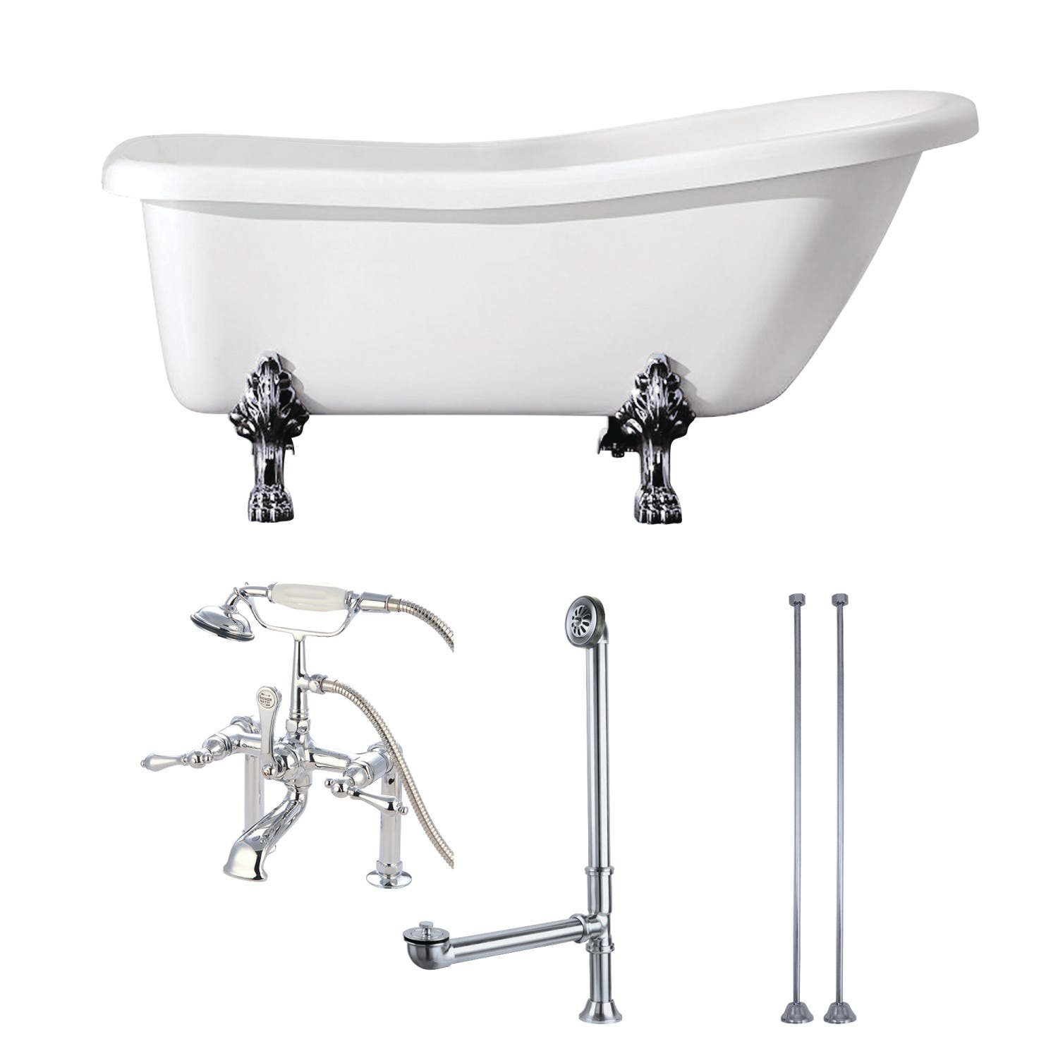 Clawfoot Tub Supply Lines.Aqua Eden Kvtde692823c1 67 Inch Acrylic Single Slipper Clawfoot Tub Combo With Faucet And Supply Lines White Polished Chrome