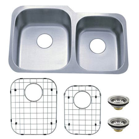Kingston Brass KZGKUD3221P Undermount Double Bowl Kitchen Sink Combo With Strainer and Grid, Brushed