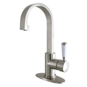 Fauceture LS8218DPL Paris Single Hole Single-Handle Bathroom Faucet with Deck Plate and Drain, Brushed Nickel
