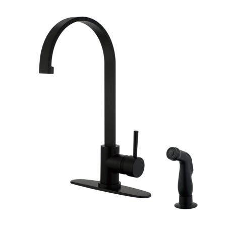Gourmetier LS8710DLSP Concord Single-Handle Kitchen Faucet with Side Sprayer, Matte Black