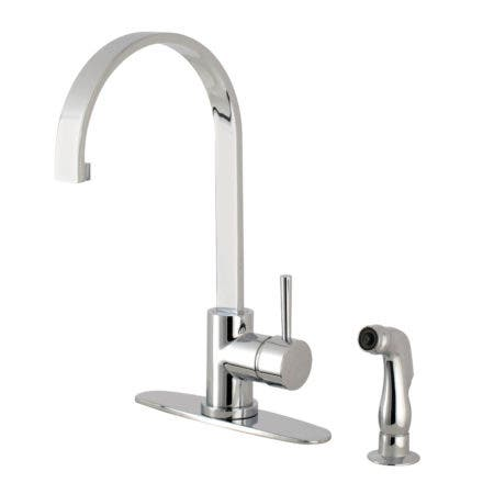 Gourmetier LS8711DLSP Concord Single-Handle Kitchen Faucet with Side Sprayer, Polished Chrome