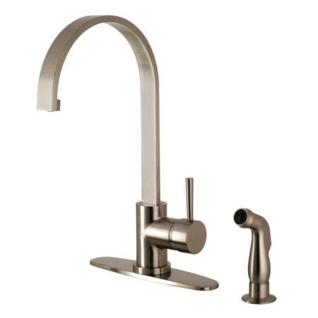 Gourmetier LS8718DLSP Concord Single-Handle Kitchen Faucet with Side Sprayer, Brushed Nickel