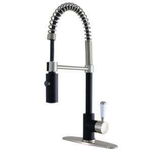 Gourmetier LS8779DPL Paris Single-Handle Pull-Down Kitchen Faucet, Matte Black/Satin Nickel