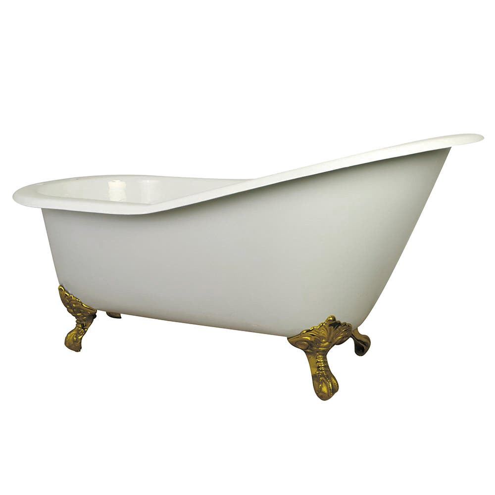 Aqua Eden NHVCT7D653129B2 61-Inch Cast Iron Single Slipper Clawfoot Tub with 7-Inch Faucet Drillings, White/Polished Brass