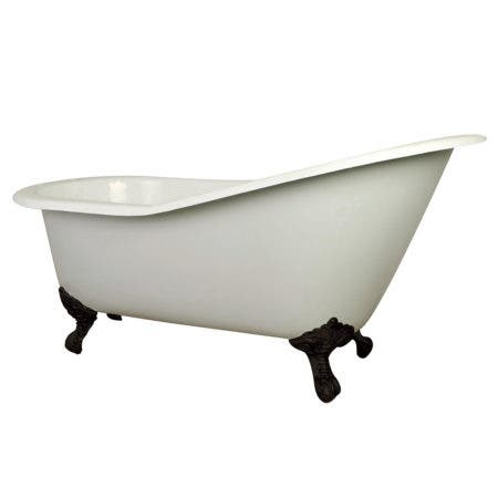 Aqua Eden NHVCT7D653129B5 61-Inch Cast Iron Single Slipper Clawfoot Tub with 7-Inch Faucet Drillings, White/Oil Rubbed Bronze