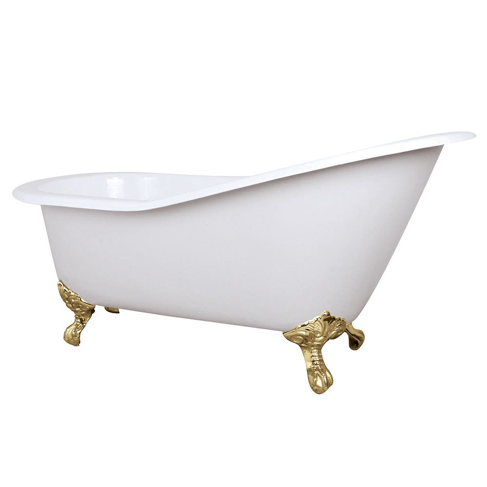 Aqua Eden NHVCTND653129B2 61-Inch Cast Iron Single Slipper Clawfoot Tub (No Faucet Drillings), White/Polished Brass