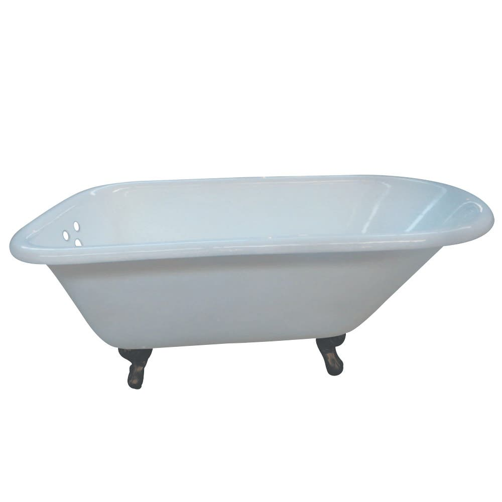 Aqua Eden VCT3D543019NT5 54-Inch Cast Iron Roll Top Clawfoot Tub with 3-3/8 Inch Wall Drillings, White/Oil Rubbed Bronze