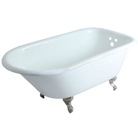Aqua Eden VCT3D603019NT8 60-Inch Cast Iron Roll Top Clawfoot Tub with 3-3/8 Inch Wall Drillings, White/Brushed Nickel