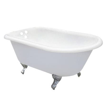 Aqua Eden VCT3D663019NT1 66-Inch Cast Iron Roll Top Clawfoot Tub with 3-3/8 Inch Wall Drillings, White/Polished Chrome