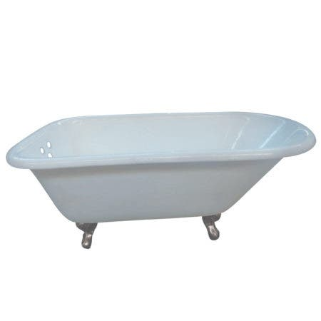 Aqua Eden VCT3D663019NT8 66-Inch Cast Iron Roll Top Clawfoot Tub with 3-3/8 Inch Wall Drillings, White/Brushed Nickel