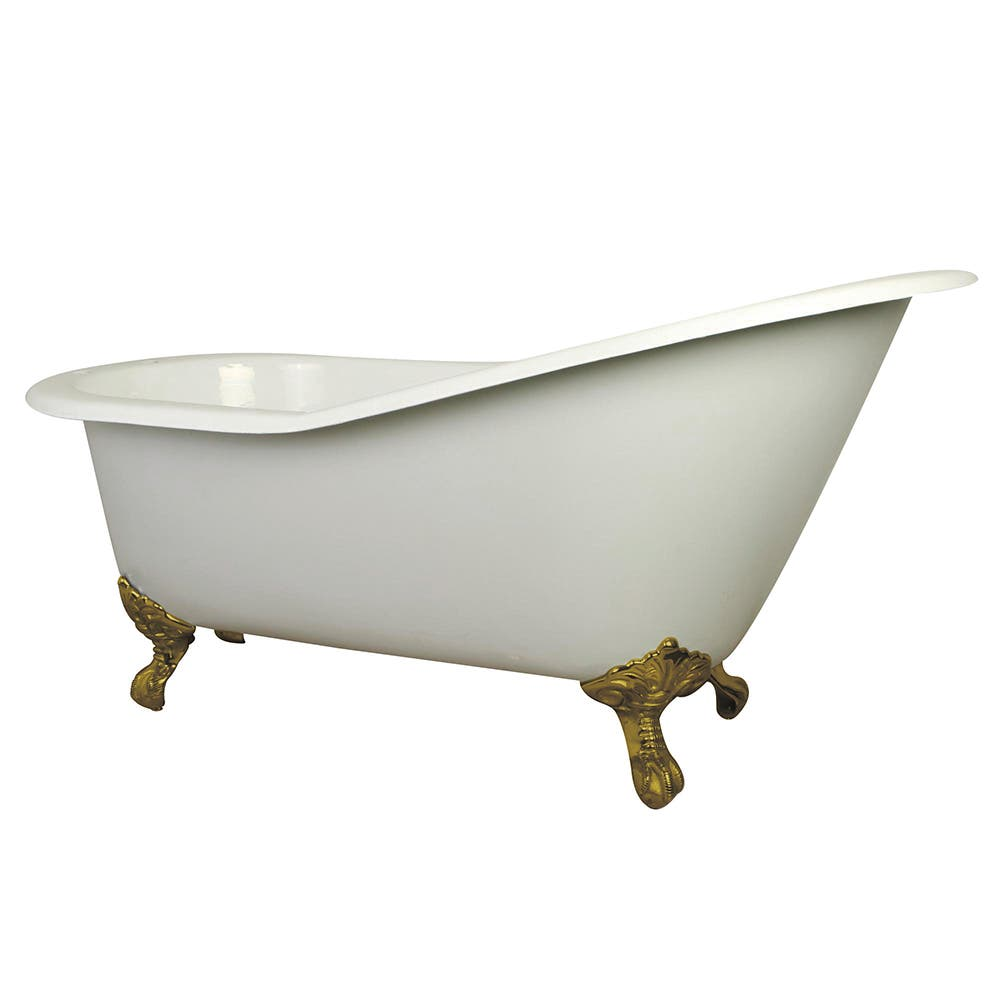 Aqua Eden VCT7D653129B2 61-Inch Cast Iron Single Slipper Clawfoot Tub with 7-Inch Faucet Drillings, White/Polished Brass