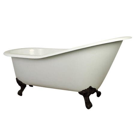 Aqua Eden VCT7D653129B5 61-Inch Cast Iron Single Slipper Clawfoot Tub with 7-Inch Faucet Drillings, White/Oil Rubbed Bronze