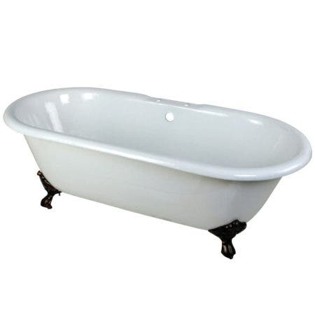 Aqua Eden VCT7D663013NB5 66-Inch Cast Iron Double Ended Clawfoot Tub with 3-3/8 Inch Wall Drillings, White/Oil Rubbed Bronze