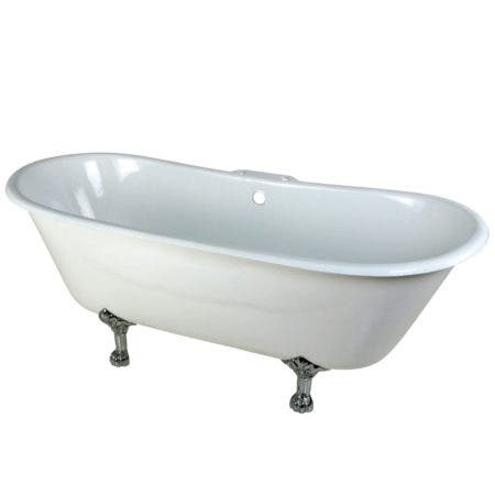 Aqua Eden VCT7D6728NH1 67-Inch Cast Iron Double Slipper Clawfoot Tub with 7-Inch Faucet Drillings, White/Polished Chrome