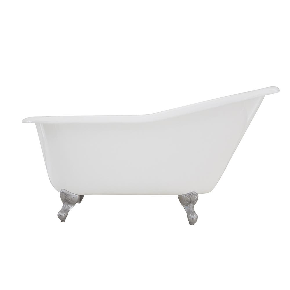 Aqua Eden VCTND6030NT1 60-Inch Cast Iron Single Slipper Clawfoot Tub (No Faucet Drillings), White/Polished Chrome