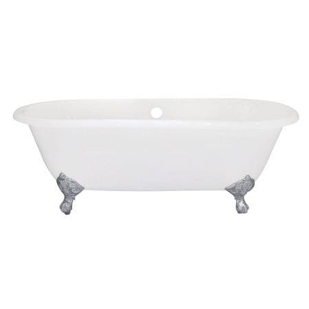 Aqua Eden VCTND663013NB1 66-Inch Cast Iron Double Ended Clawfoot Tub (No Faucet Drillings), White/Polished Chrome